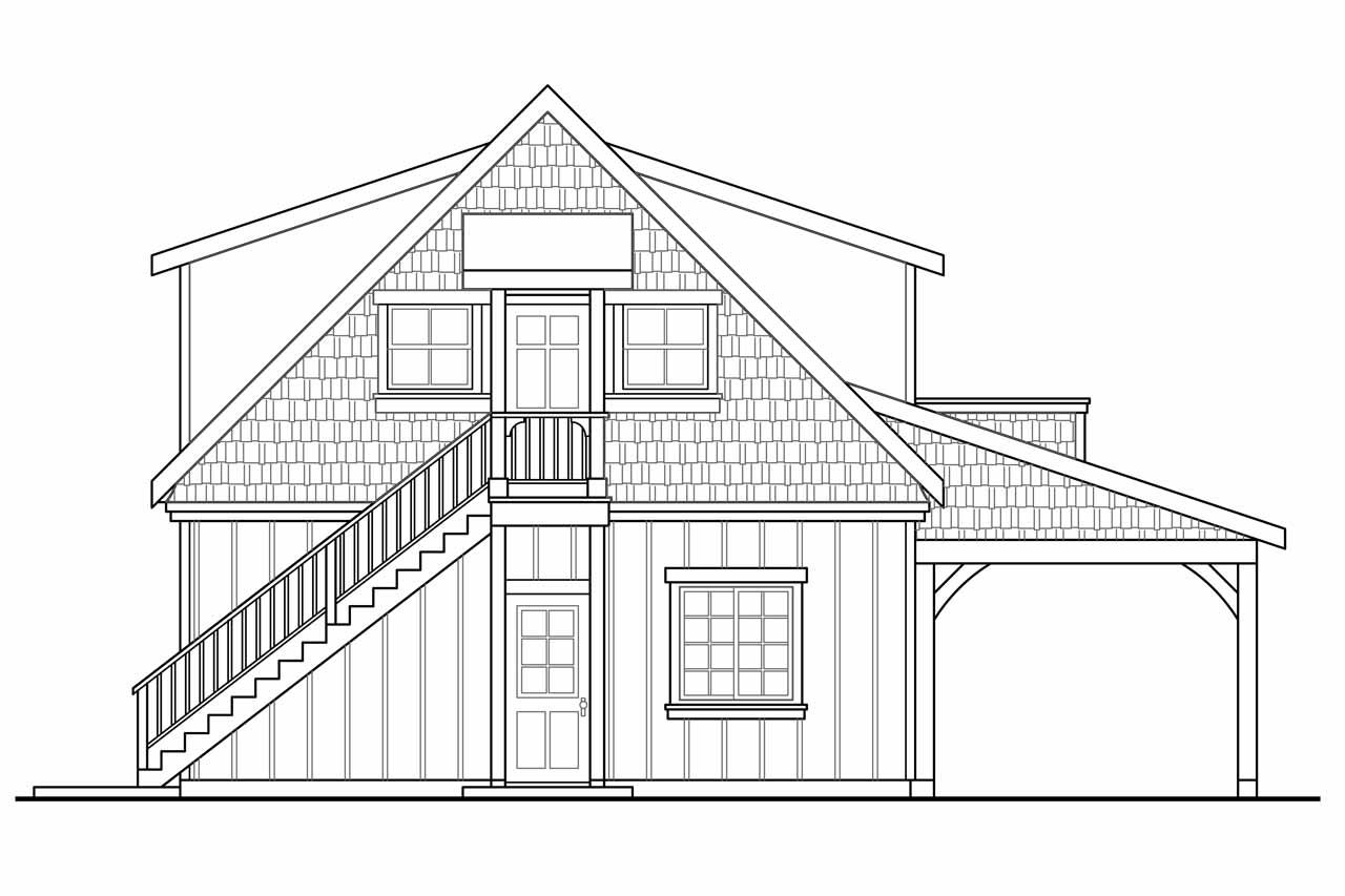 Craftsman House Plans - Garage w/Living 20-080 - Associated Designs