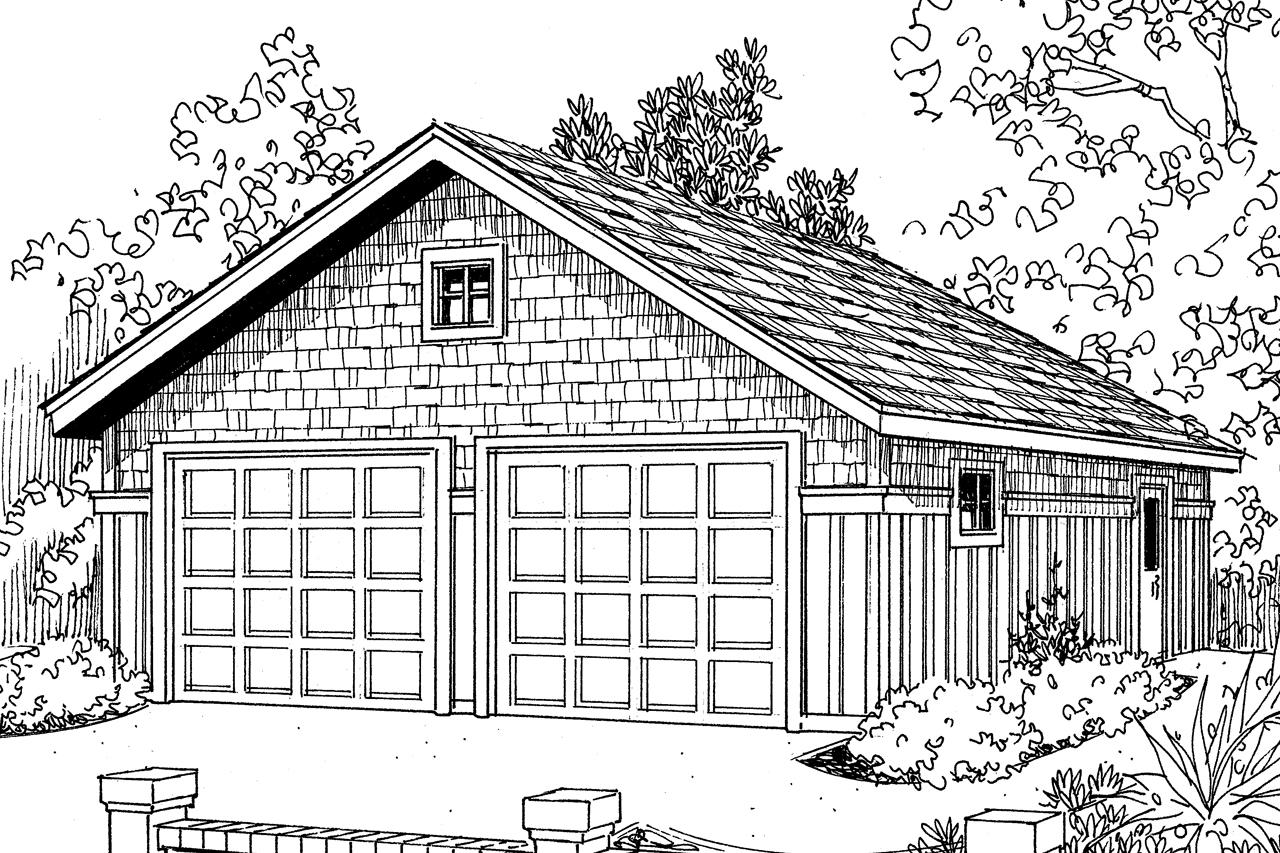 Front Elevation With Garage : Craftsman house plans car garage associated
