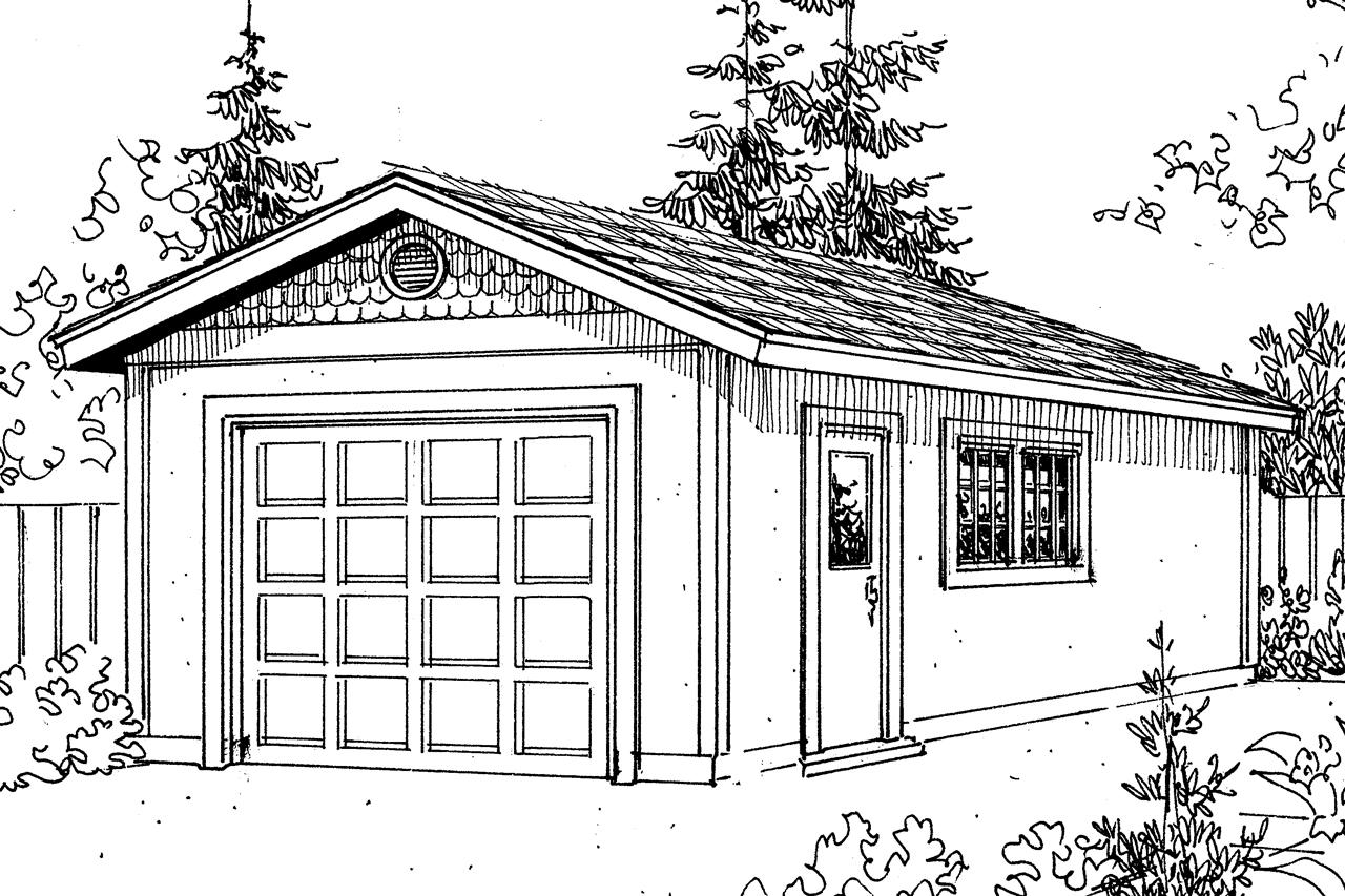Front Elevation With Garage : Plan drawing garage plans mediterranean