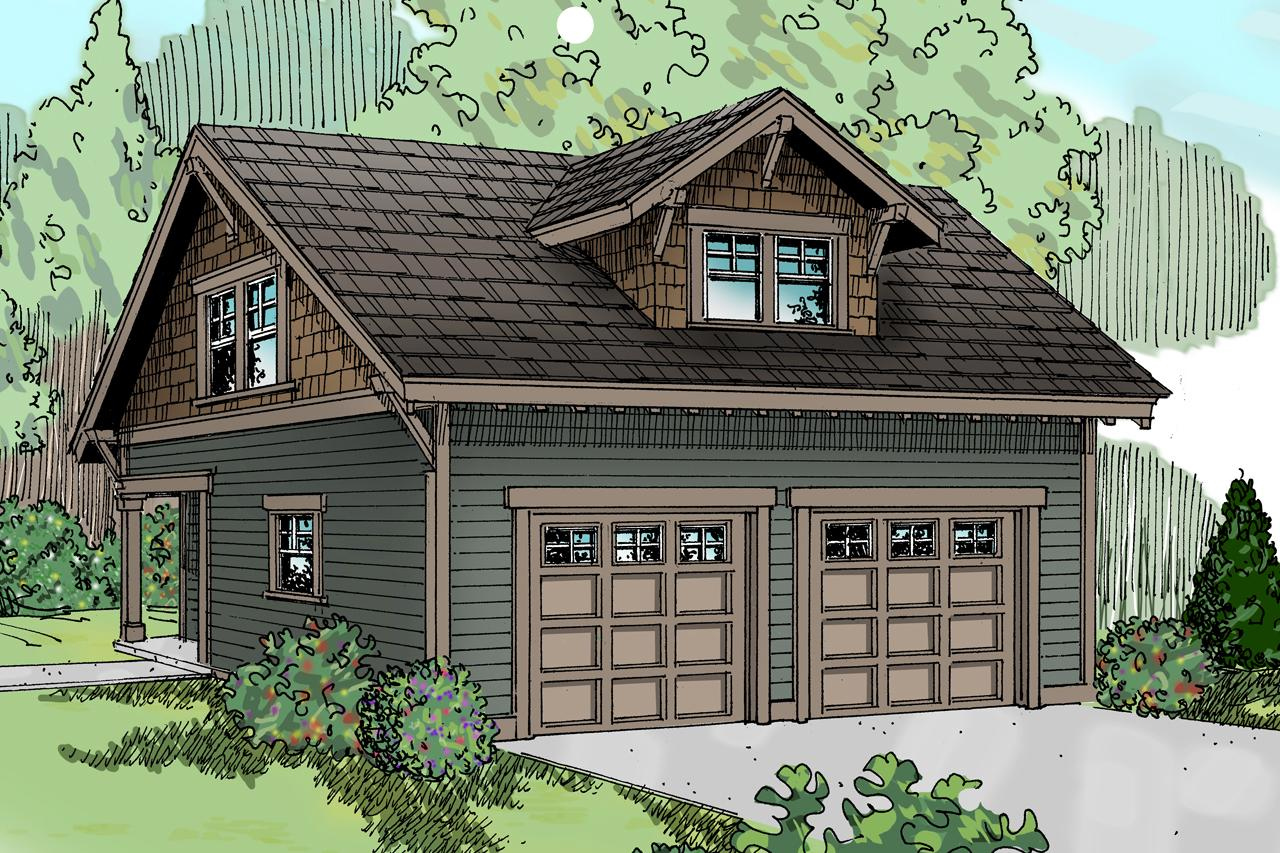 Front Elevation With Garage : Craftsman house plans garage w studio