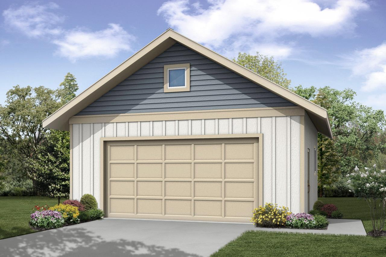 Front Elevation With Garage : Cottage house plans garage associated designs