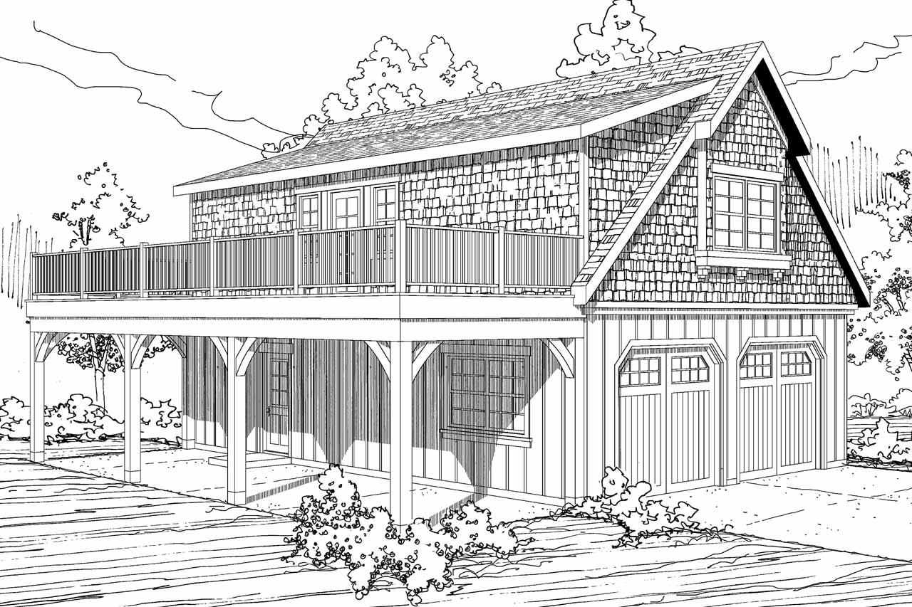 Shingle Style House Plans - 2 car Garage w/Loft 20-061 - Associated ...