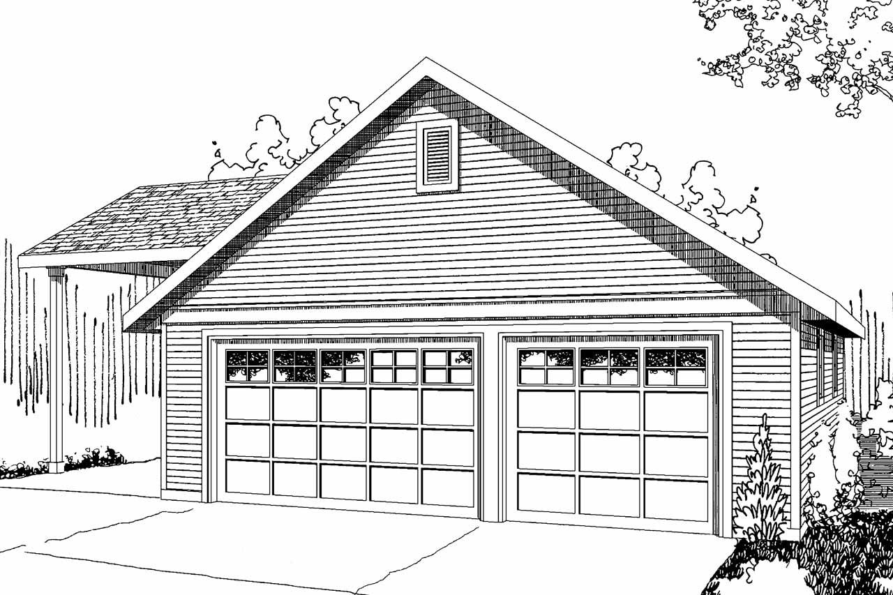 Front Elevation With Garage : Traditional house plans garage w rv parking