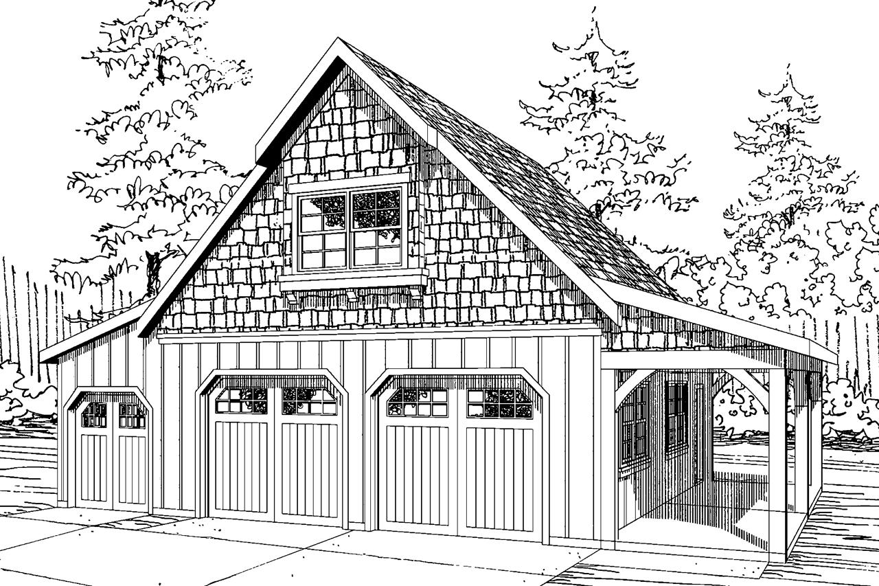 Front Elevation With Garage : Craftsman house plans car garage w attic