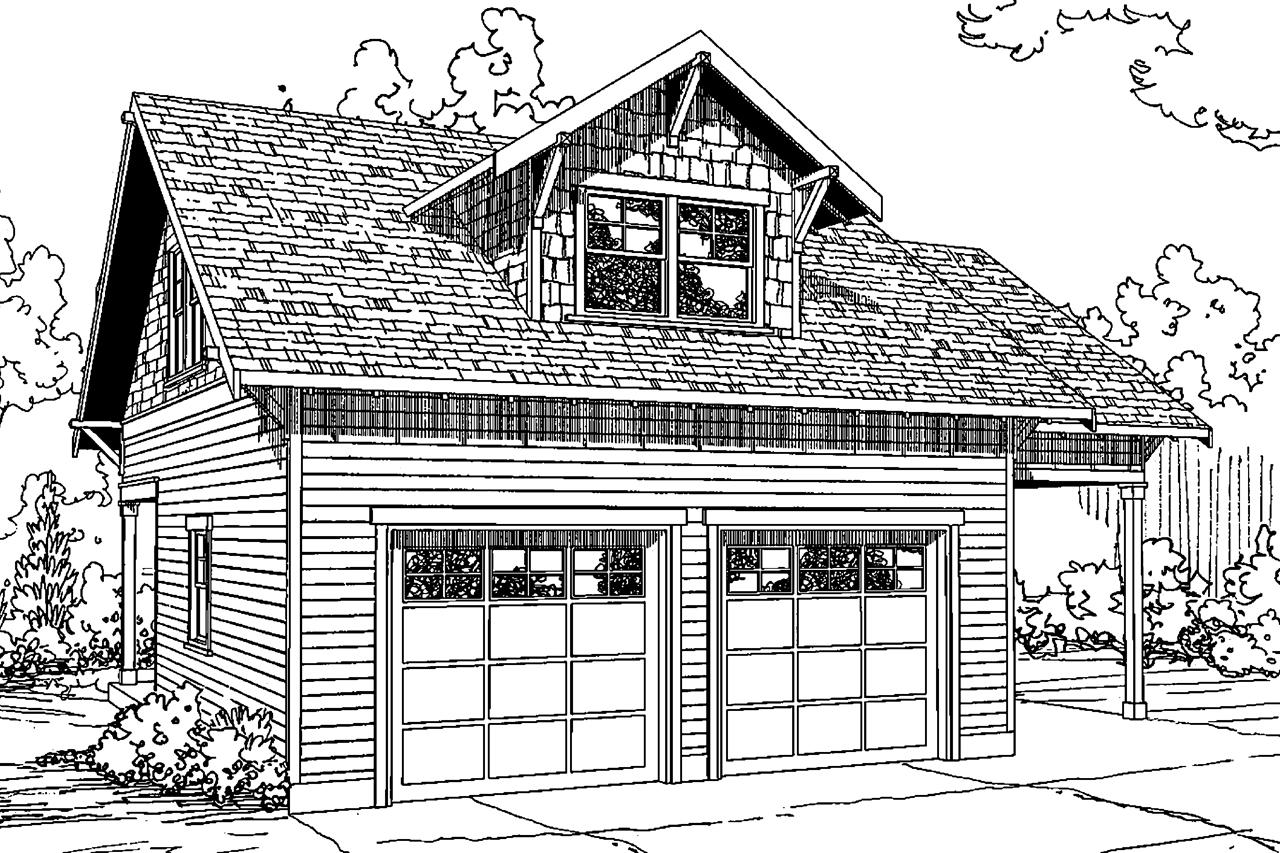 Front Elevation Plan With Garage : Cottage house plans garage w living associated