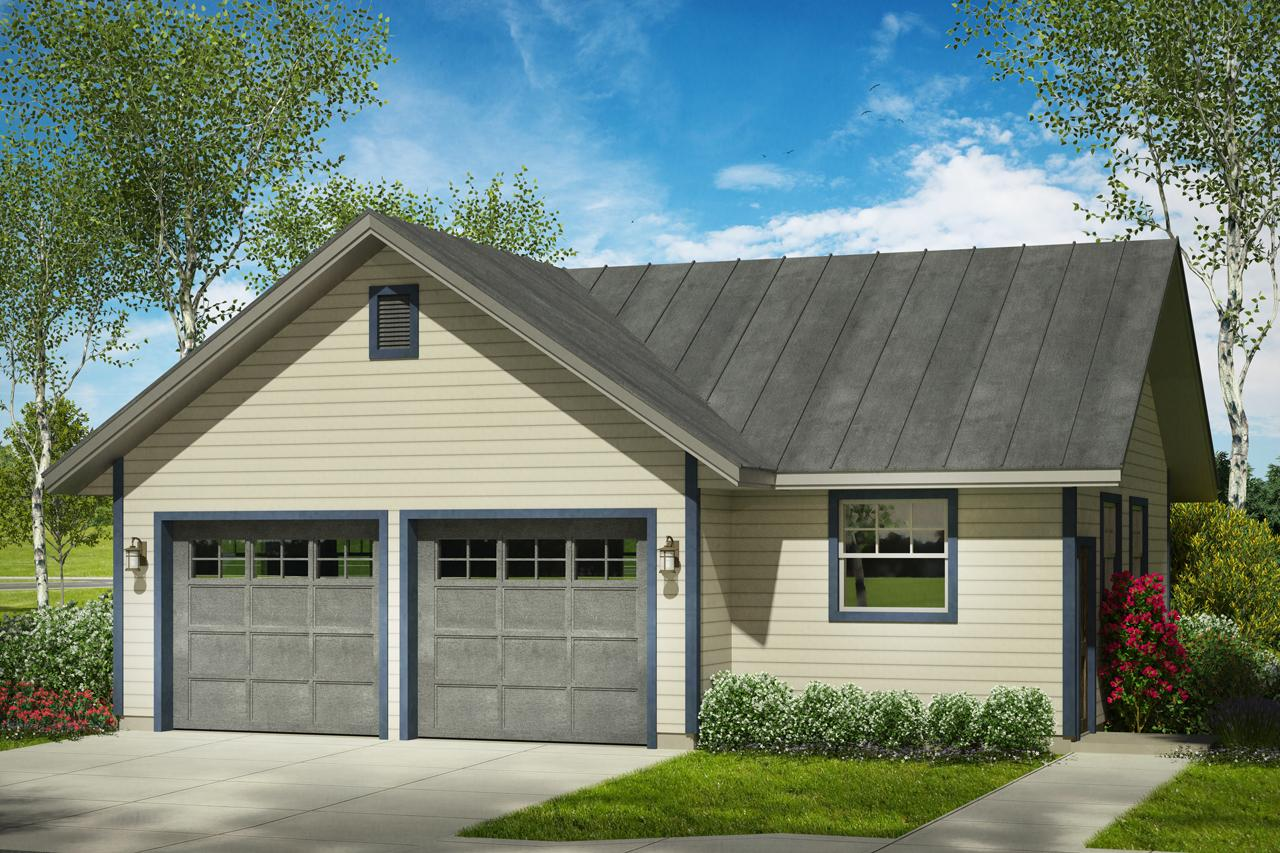 Front Elevation Garage : Traditional house plans garage w shop