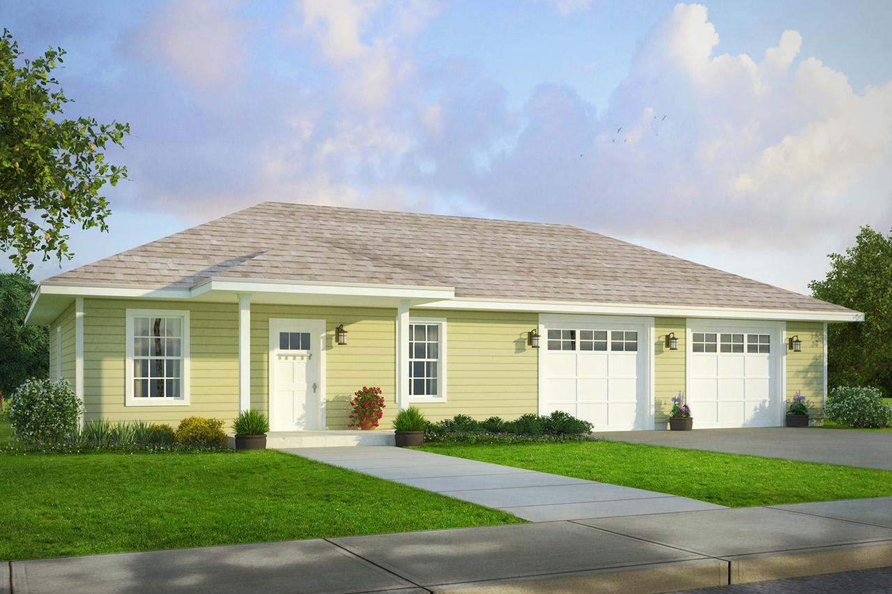 Front Elevation Car Garage : Country house plans garage w living associated