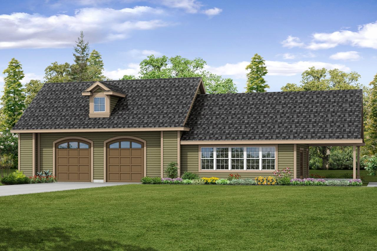 Front Elevation With Garage : Traditional house plans garage w recreation room