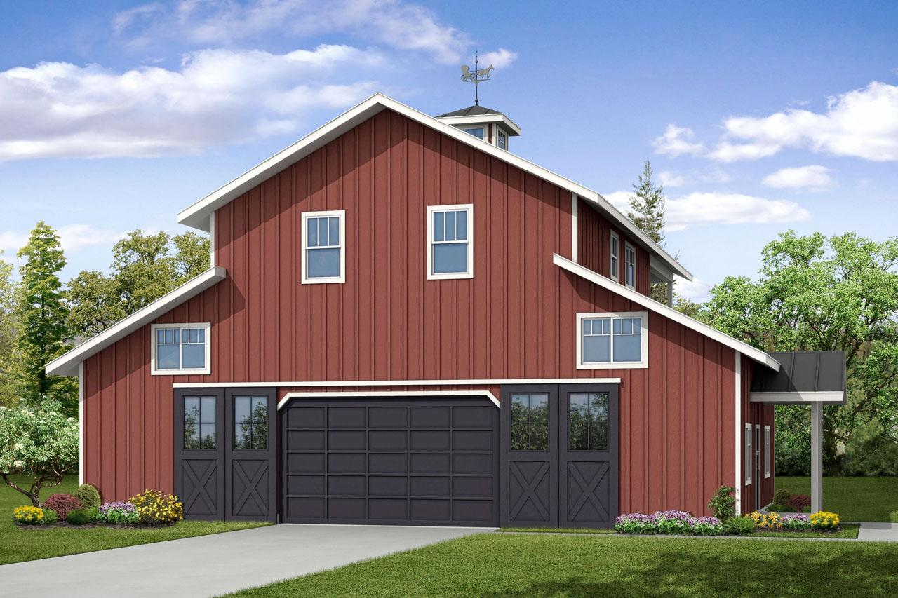 Front Elevation With Garage : Ranch house plans garage w apartment associated