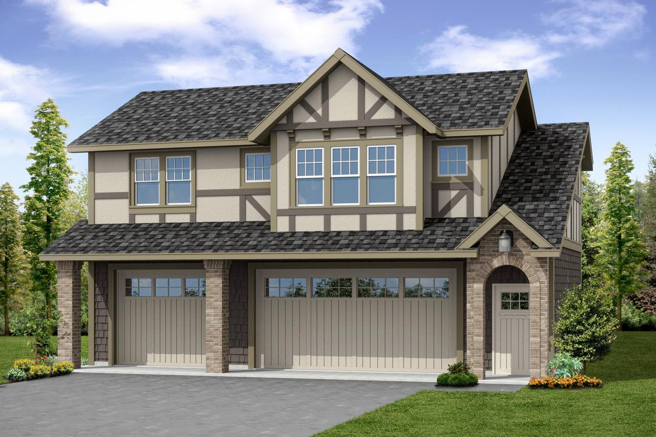 Front Elevation With Garage : Cottage house plans garage w living associated