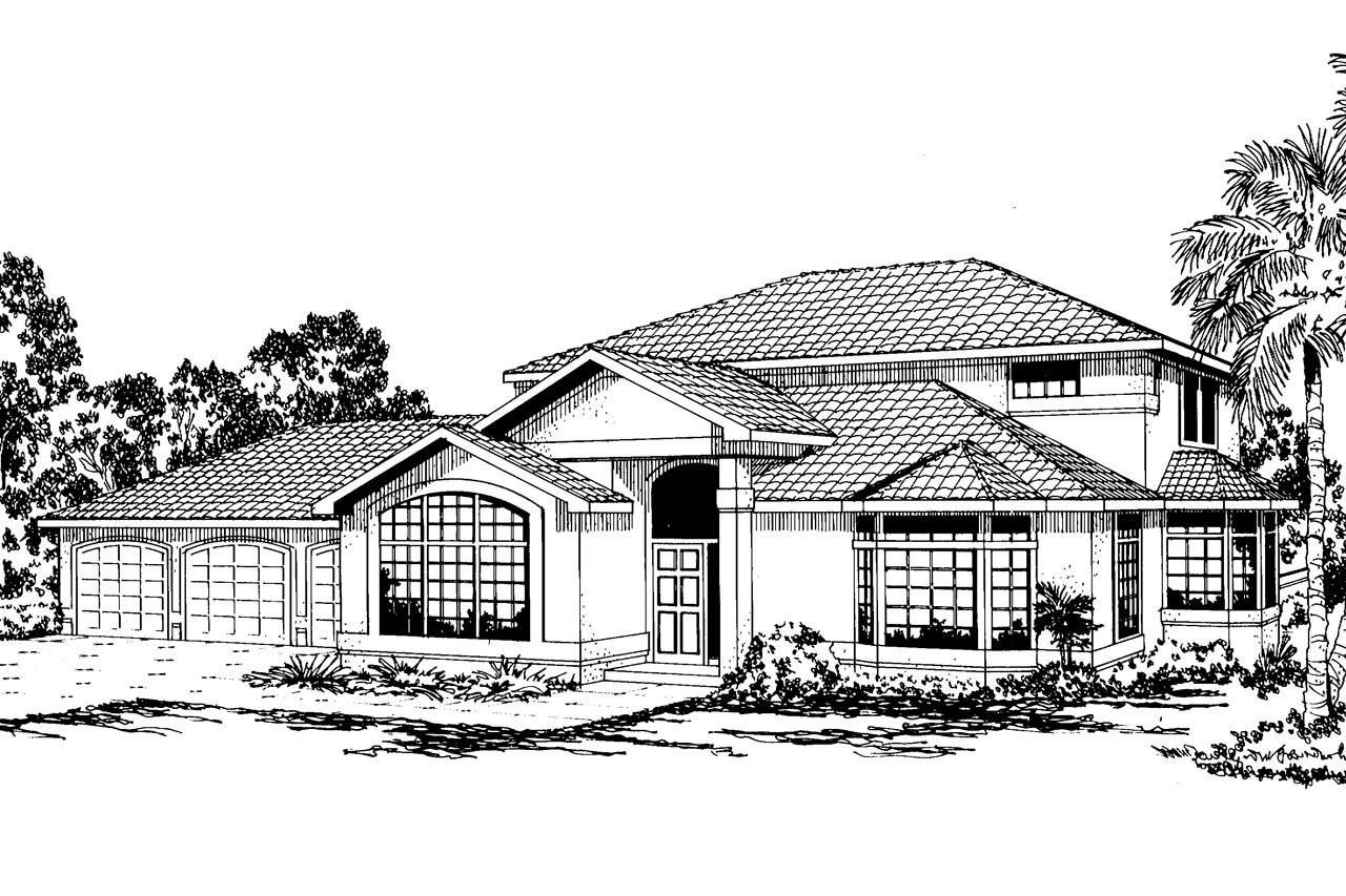 Mediterranean house plans amherst 11 030 associated for Mediterranean elevation