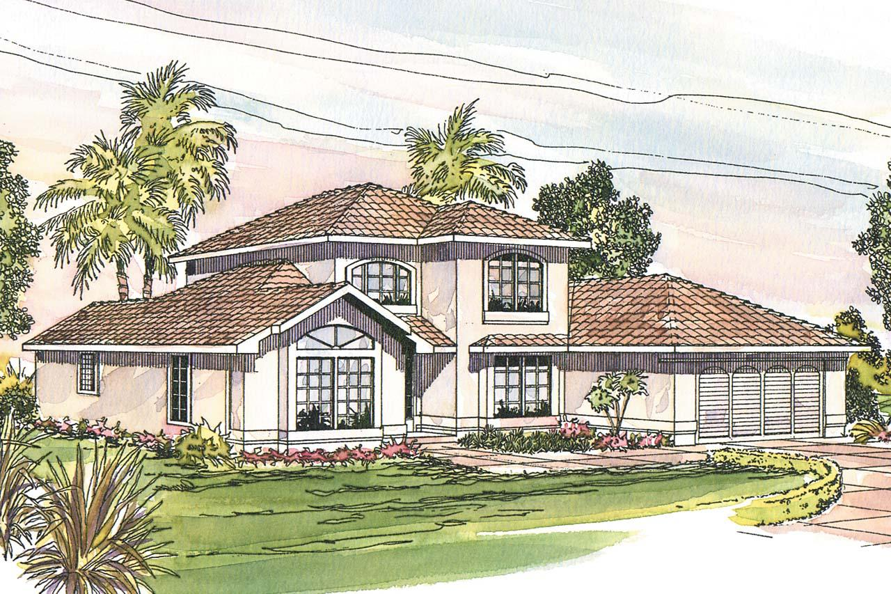 Mediterranean house plans del mar 11 057 associated for Mediterranean elevation