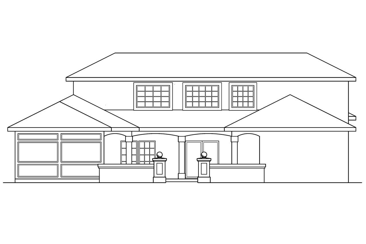 southwest house plans roswell 11 086 associated designs pool house plan roswell 11 086 rear elevation