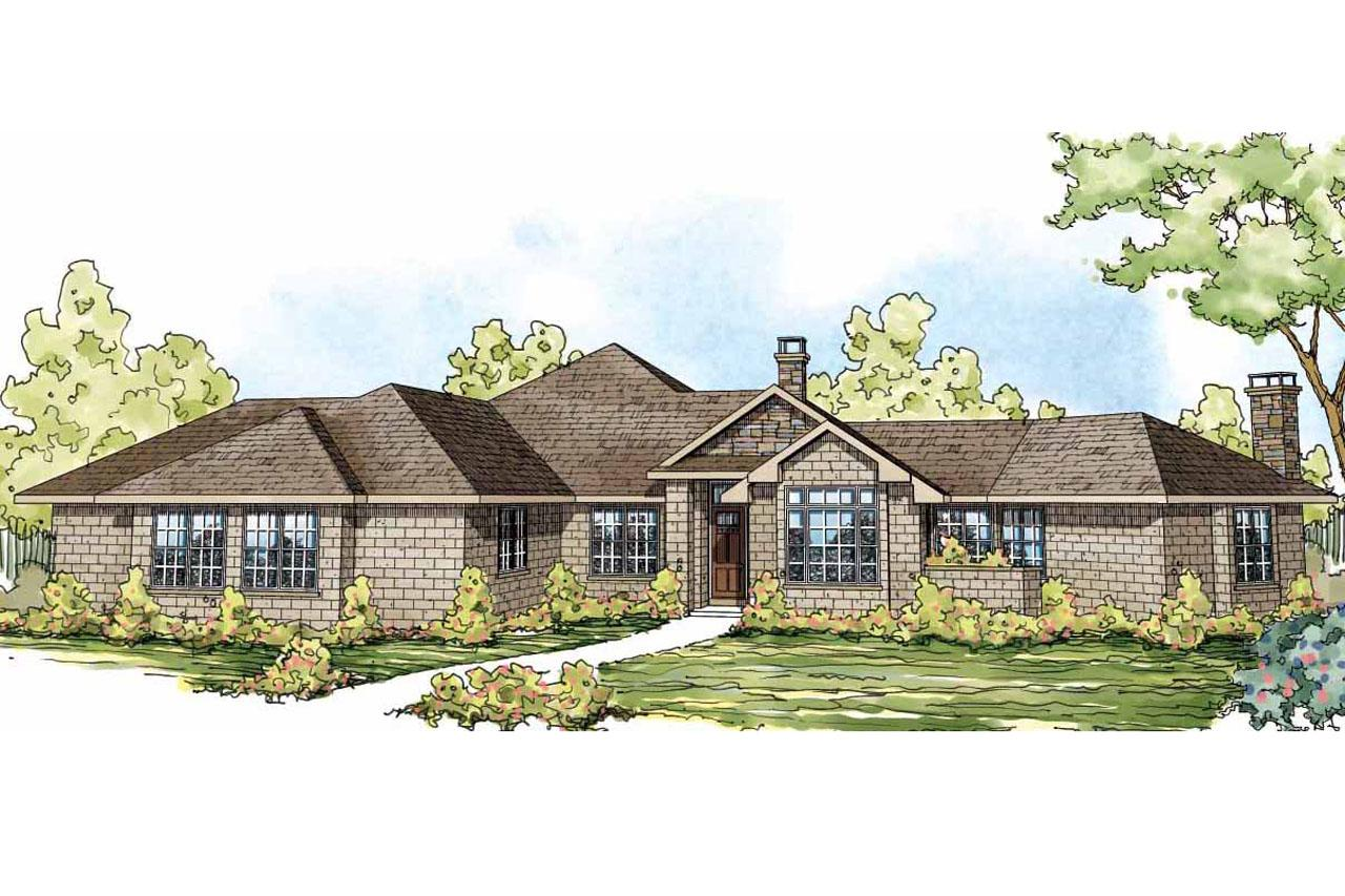 Ranch house plans hillcrest 10 557 associated designs for Ranch house elevations