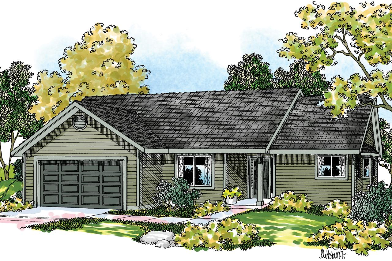 Front Elevation Ranch : Ranch house plans lander associated designs