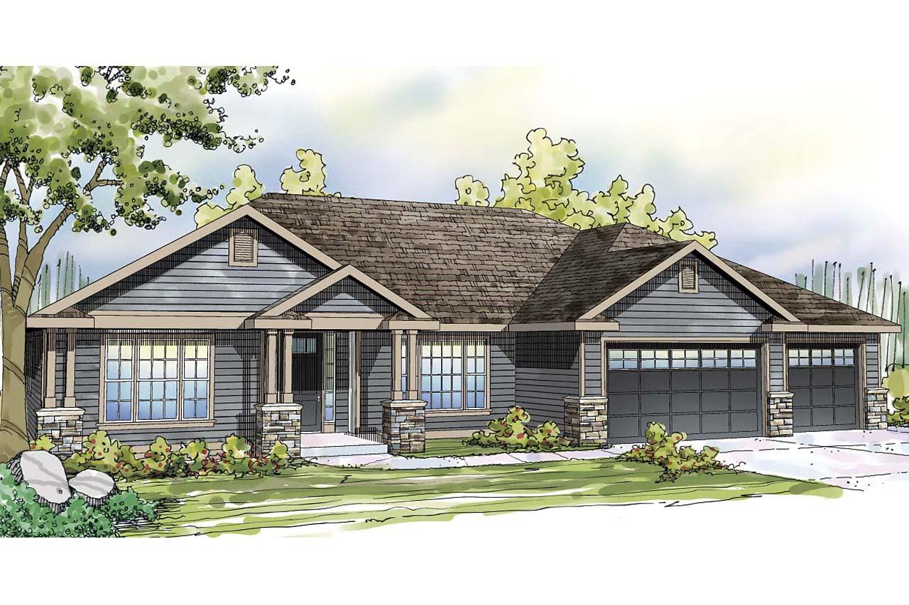 Ranch house plans with 3 car tandem garage for Home designs 3 car garage