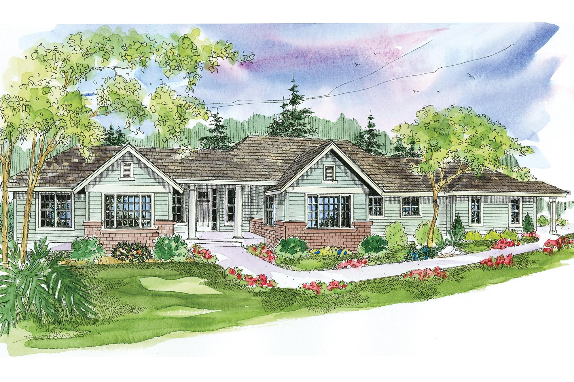Front Elevation Ranch : Ranch house plans parkdale associated designs