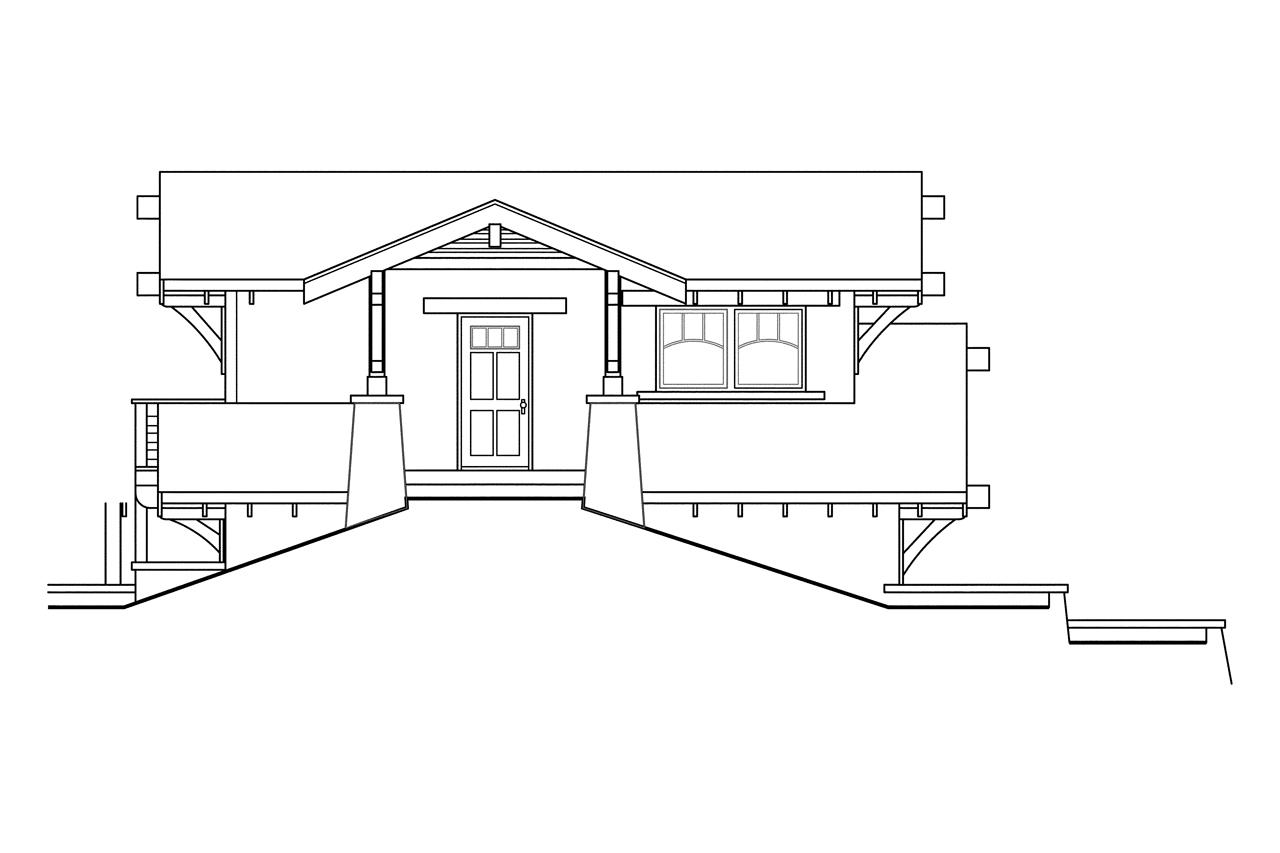 Craftsman house plans garage w living 20 008 for Building a garage on a sloped lot