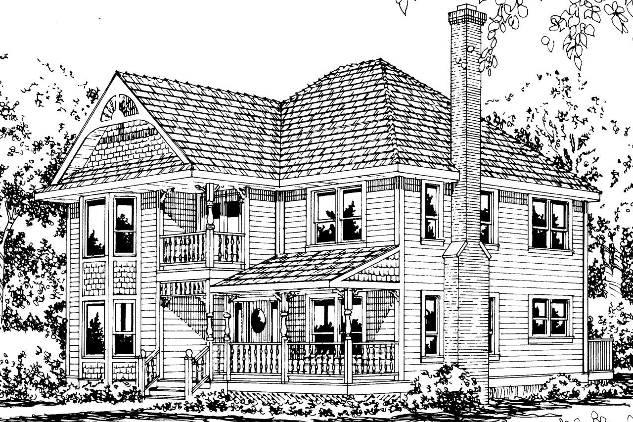 Victorian House Front Elevation : Victorian house plans astoria associated designs