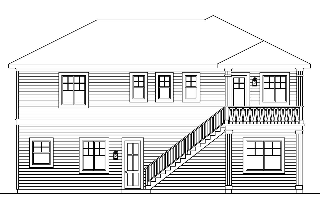 Home plan with elevation view for Elevation plan