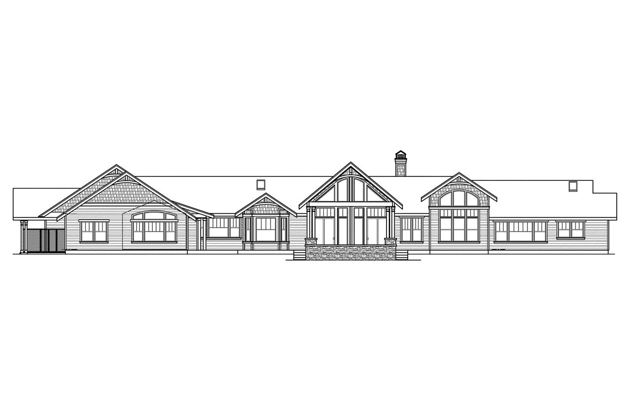 Craftsman house plans woodcliffe 30 715 associated designs House plans for rear view lots