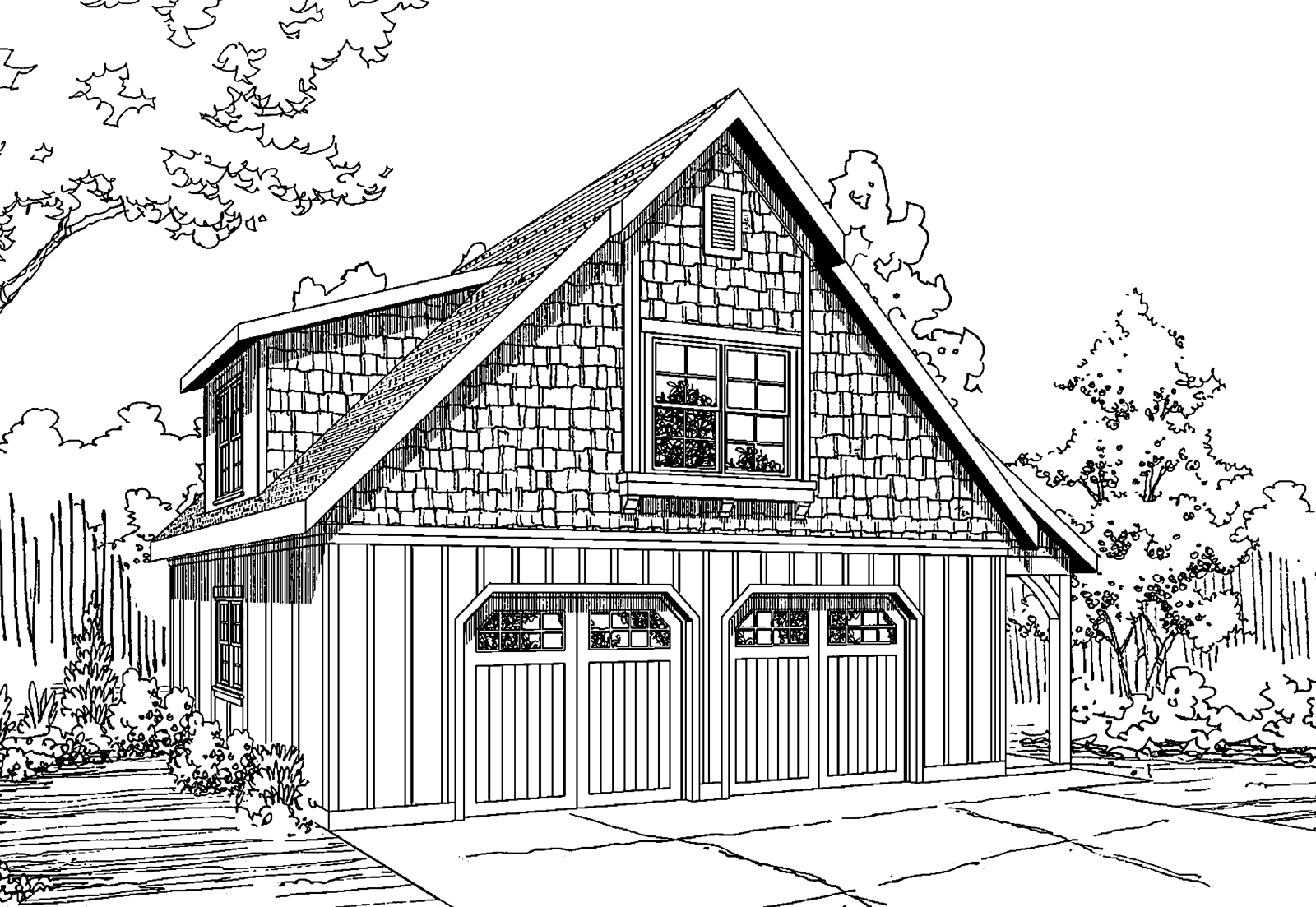 Garage with Bonus Room 20-060, Garage Plans, Craftsman