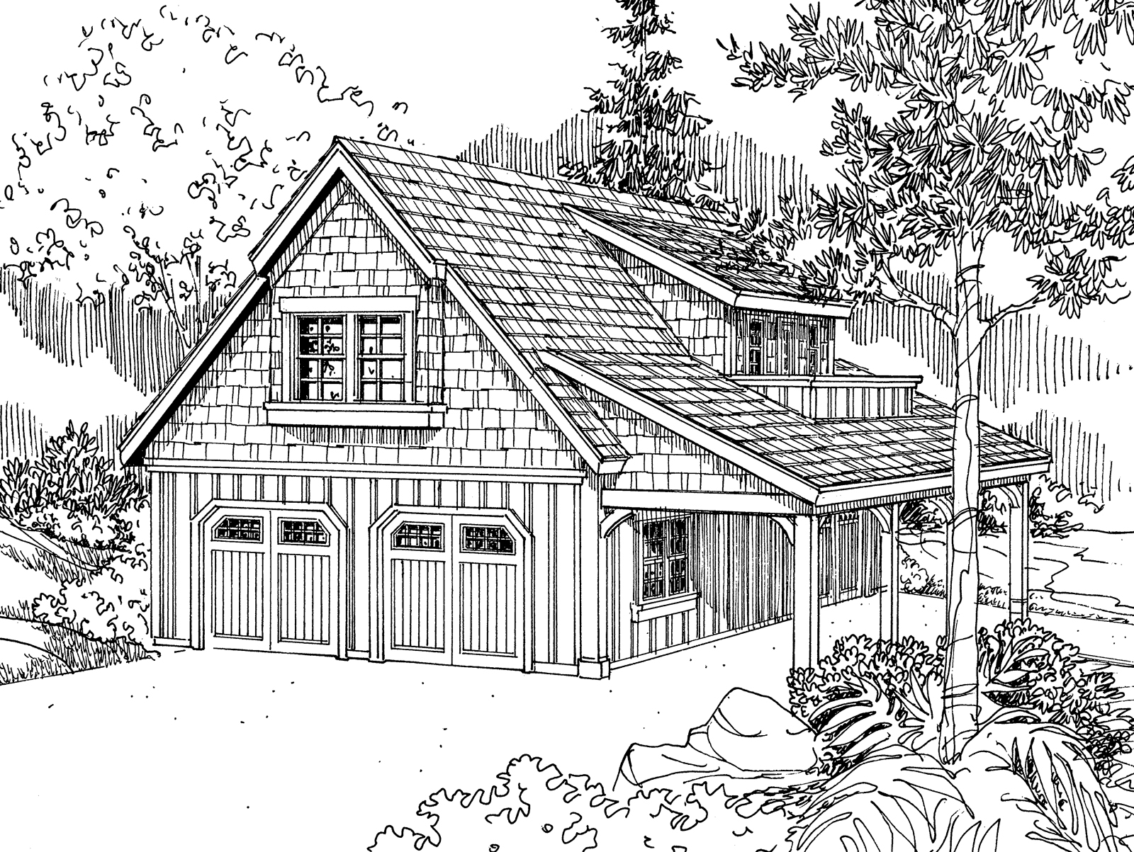 Garage with Living 20-080, Craftsman Garage Plan, Hobby, Loft