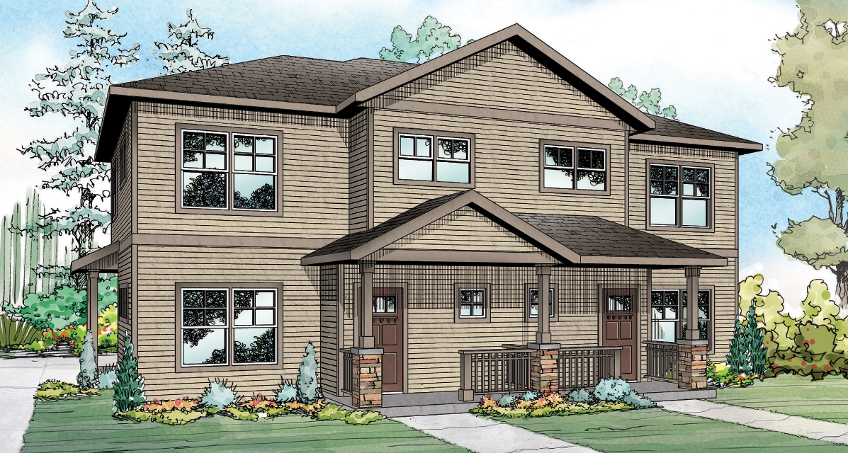 Hendrick 60-034, Duplex Plan, Country House Plan
