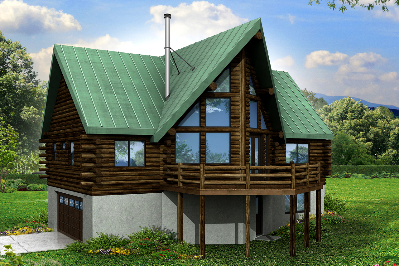 Wonderful House Plans With Rock Part - 3: A-Frame House Plan - Eagle Rock 30-919 - Rear Elevation ...