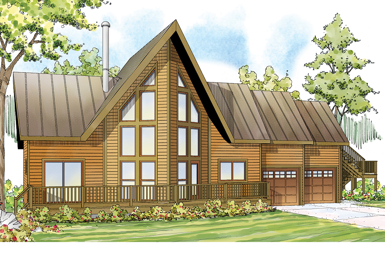A Frame House Plan   Boulder Creek 30 814   Front Elevation ...