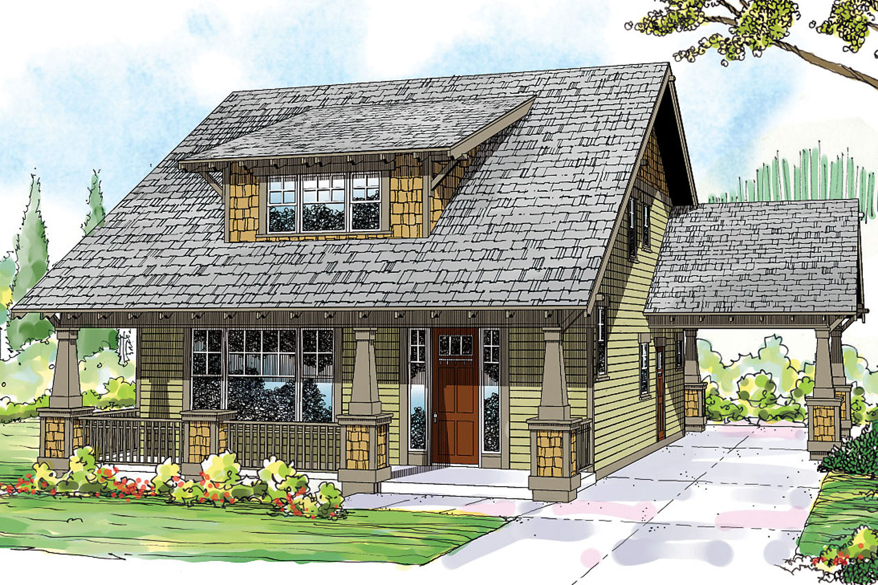 Bungalow house plans greenwood 70 001 associated designs for Two story craftsman homes