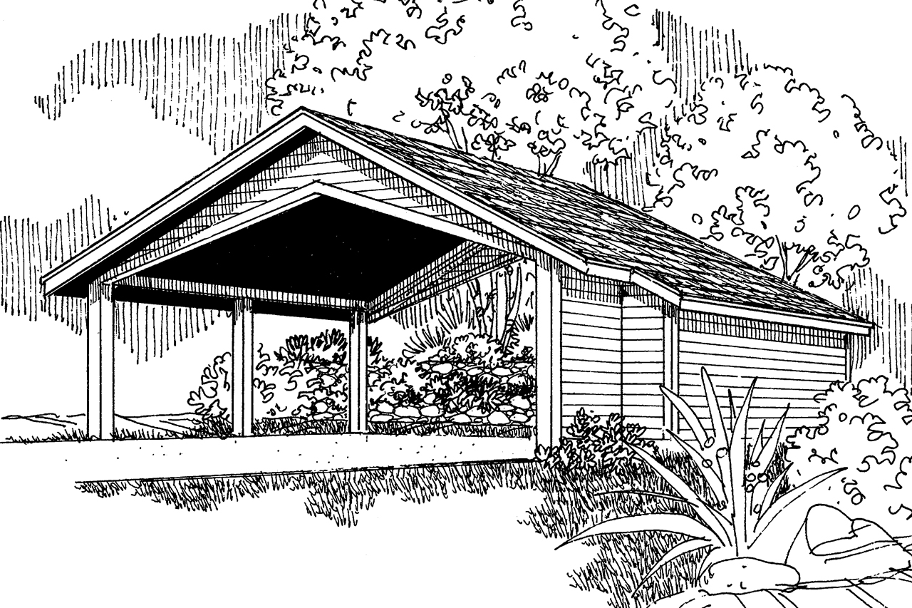 traditional house plans carport w storage 20 048 associated carport plan 20 048 front elevation