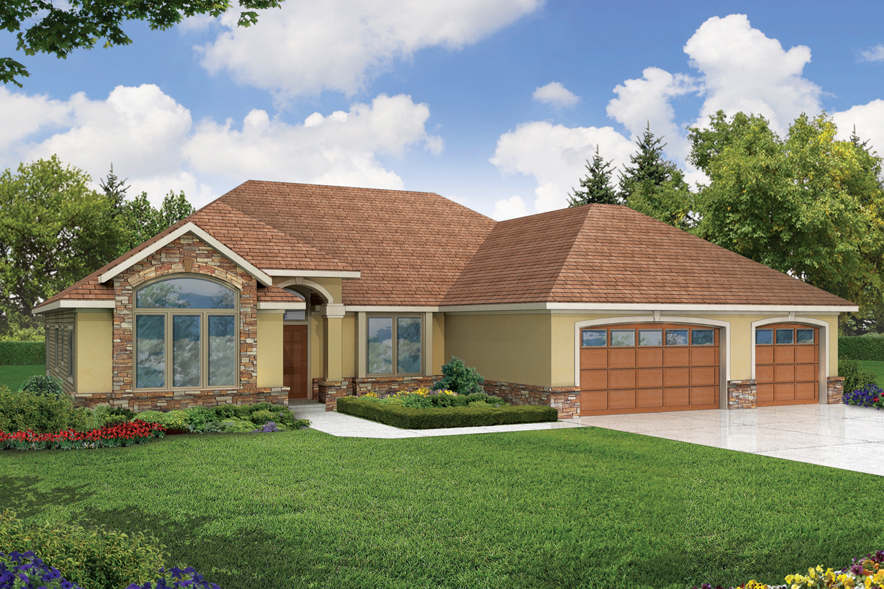 Front Elevation For 1 Story : Contemporary house plans palermo associated designs