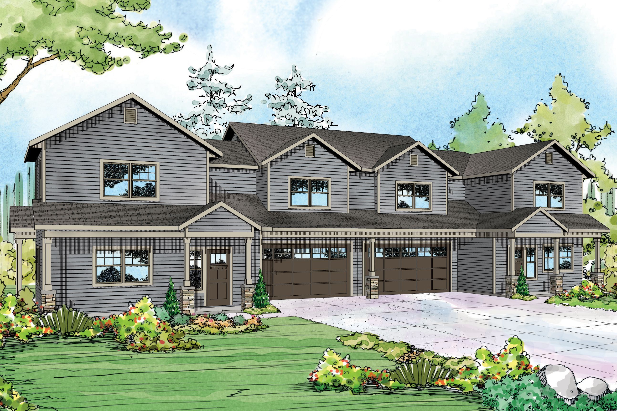 Duplex Plan, Country Duplex Plan, Warrendale 60-036