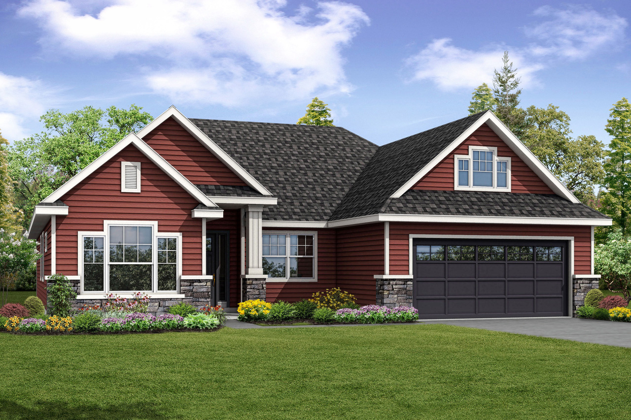 Barrington house plan has handsome country style exterior for Country style homes floor plans