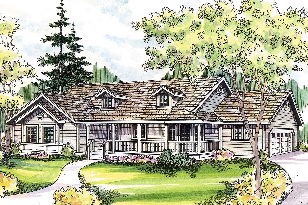 French country home plans with front porch for Country style farmhouse plans
