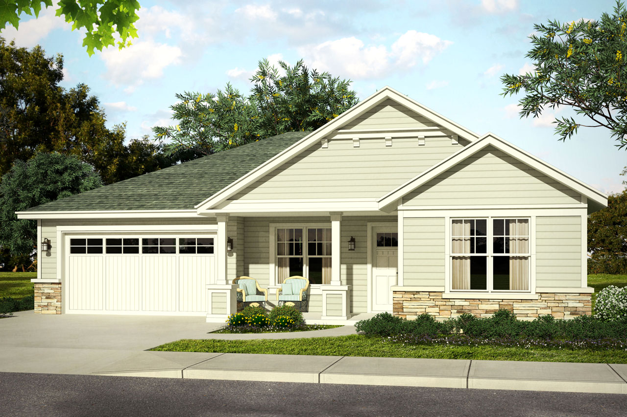 New one story elsmere house plan has charming front porch for L shaped house front porch