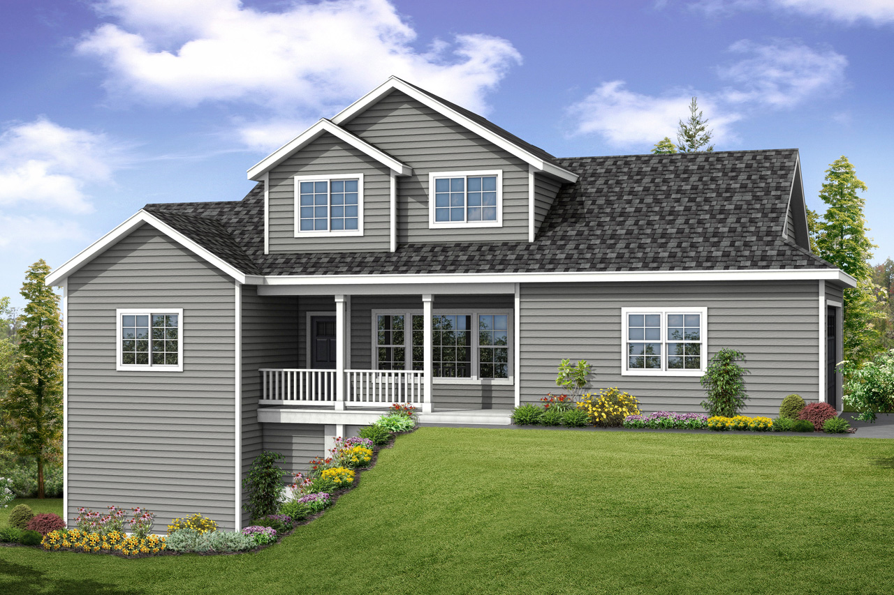 Farmington is country charm on a side sloped building lot for Sloped lot home designs