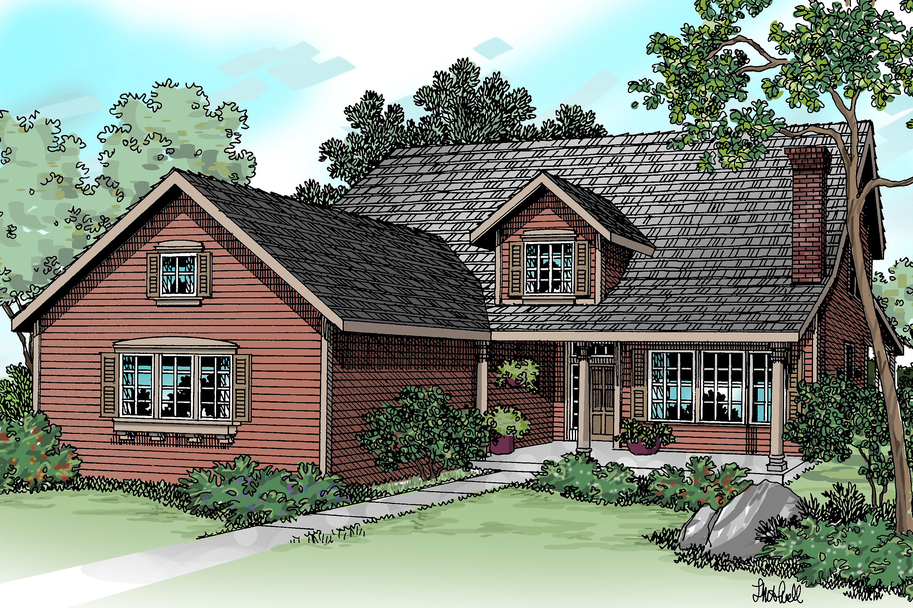 Luxurious country house plan marion great for corner for Front garage house plans