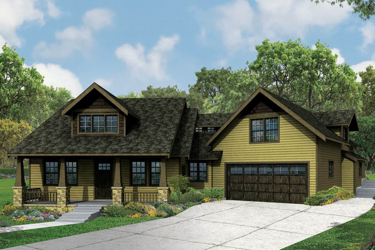 This new craftsman bungalow is big on charm and features Craftsman houseplans