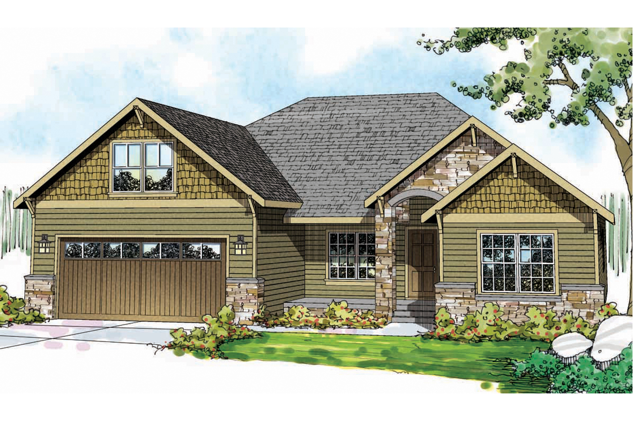 Craftsman house plans cascadia 30 804 associated designs for Single story craftsman house plans