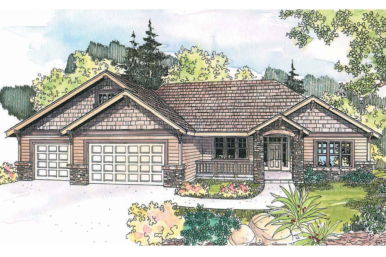 Craftsman House Plan  Goldendale 30 540 Front Elevation 4 Bedroom Plans Four Home Associated Designs