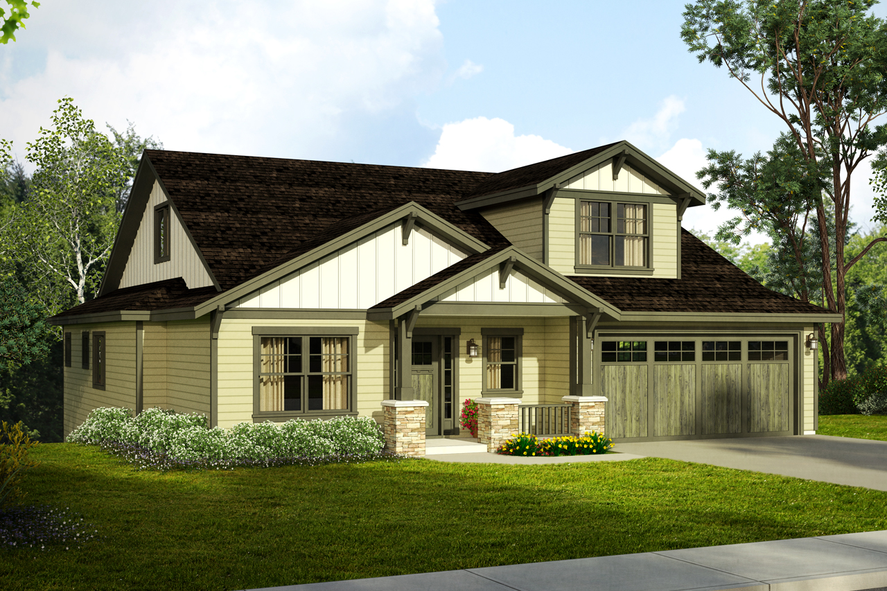 New craftsman house plan for a downhill sloped lot for Island basement house plans