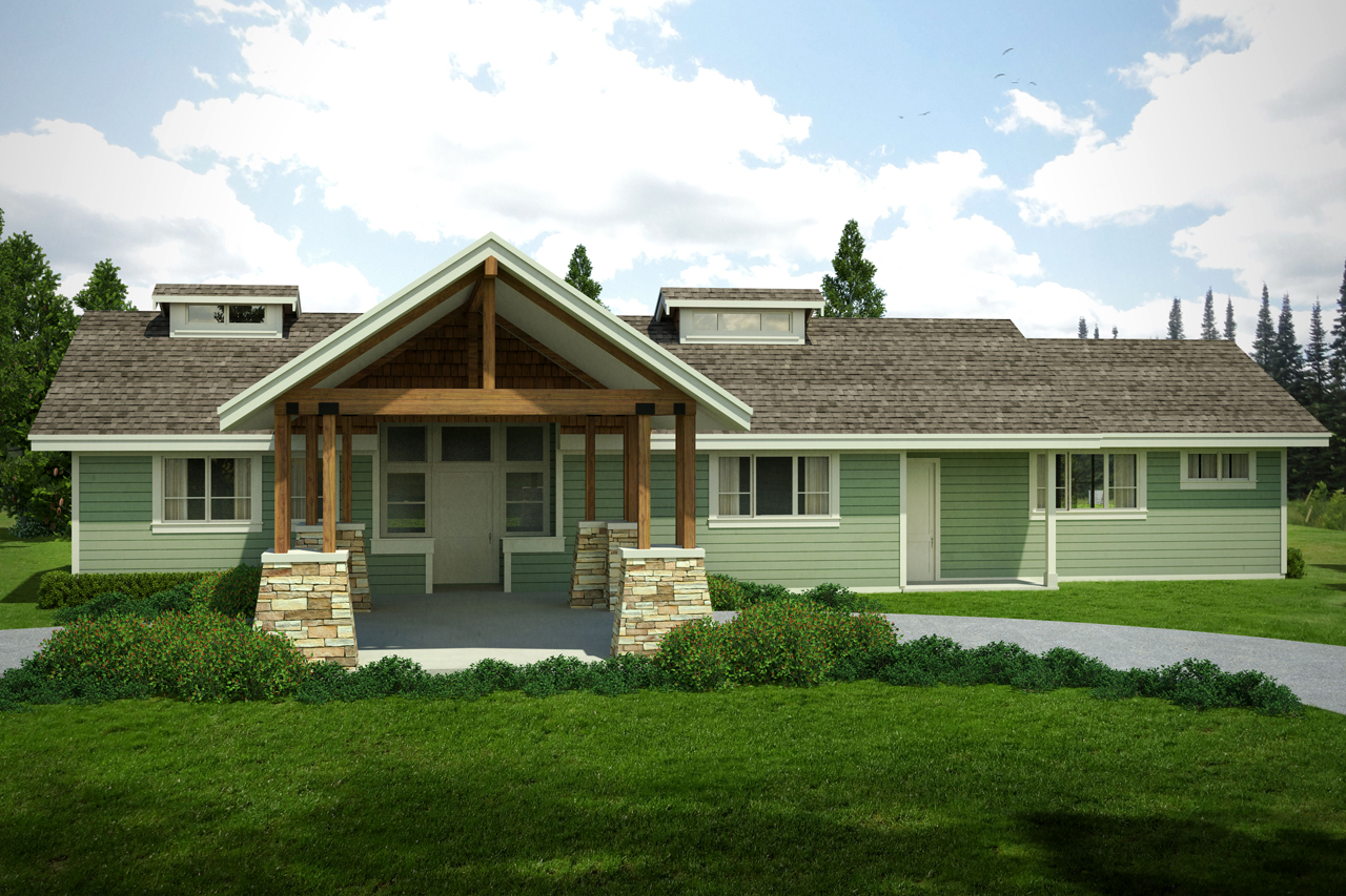 Aging In Place, Tetherow 31-019, Craftsman House Plan, 1 story home plan