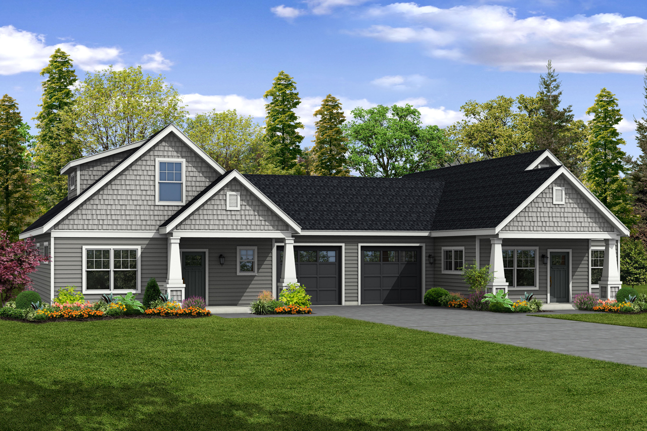 Cottage house plans columbine 60 046 associated designs for Single story duplex