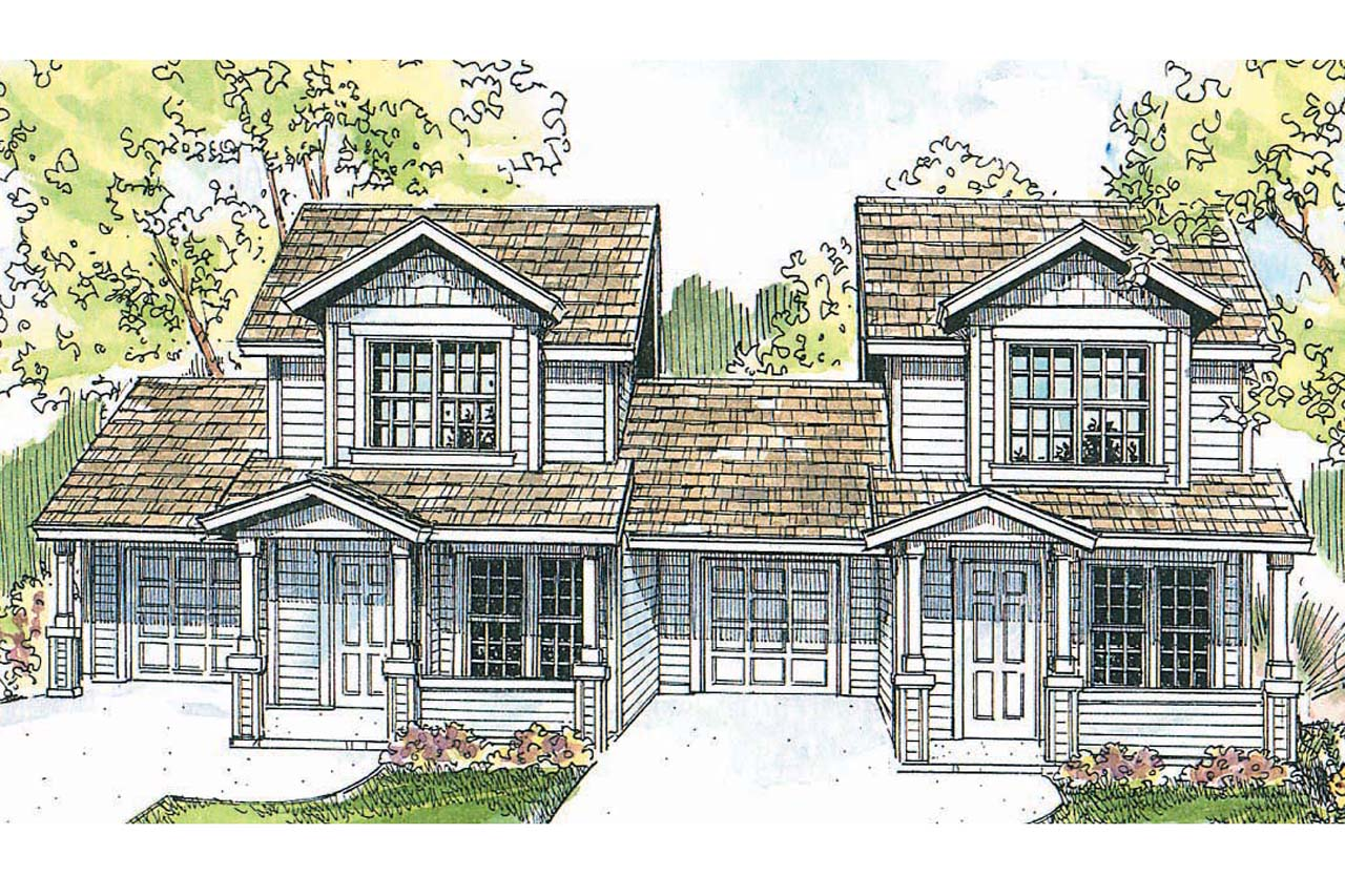 Craftsman house plans cranbrook 60 009 associated designs for Duplex cottage plans