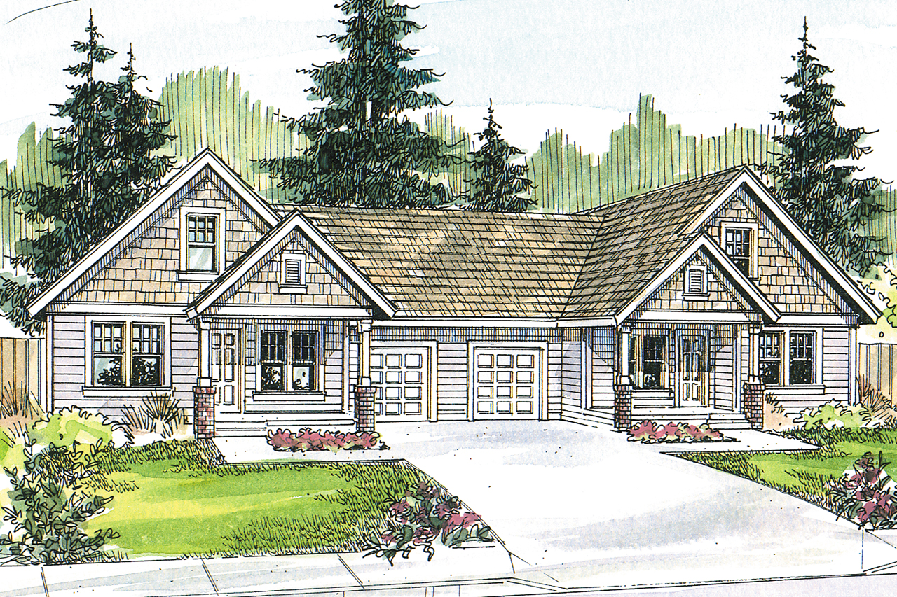 Craftsman house plans donovan 60 007 associated designs for Duplex cottage plans