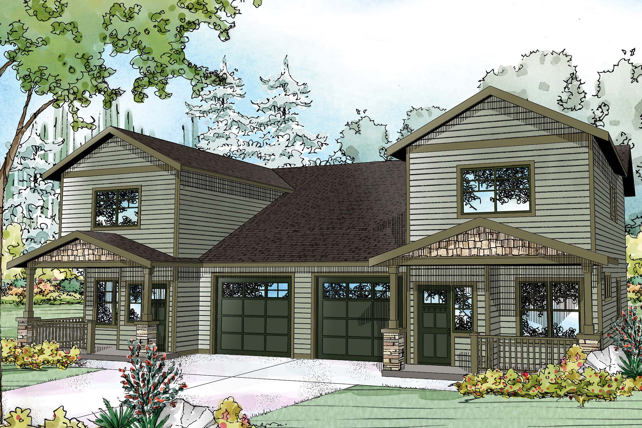 Country House Plan, Duplex Plan, Kennewick 60-037