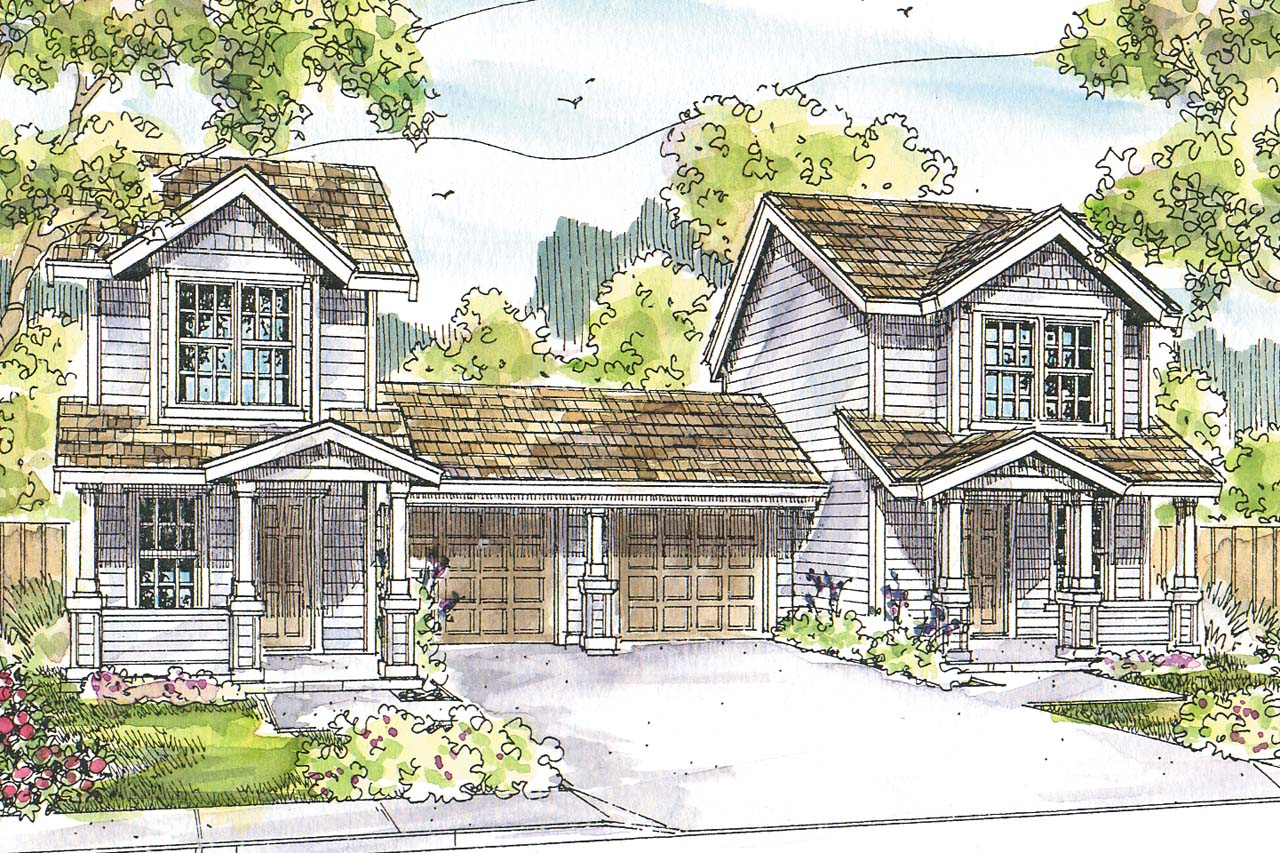 duplex plan has country cottage charm associated designs