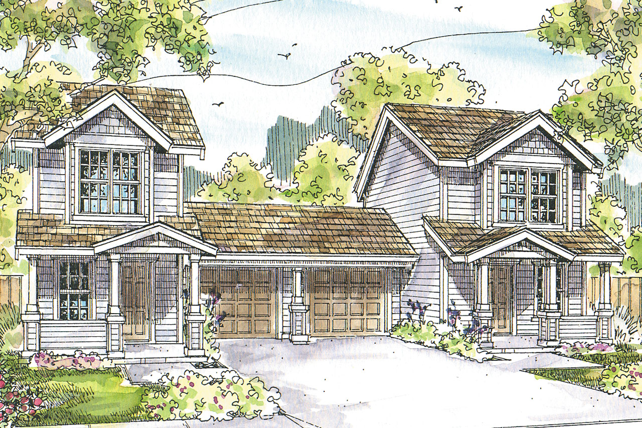Featured House Plan of the Week, Rothbury 60-016, Duplex Plans, Duplex Designs